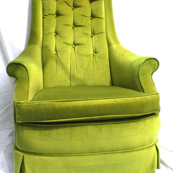Superb Vintage Mid Century Modern Green Velvet High Back Arm Chair