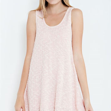 Knit Pink Dress With Lace Detail