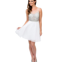 White Illusion Rhinestone Beaded Chiffon Short Dress 2015 Homecoming Dresses
