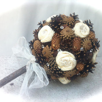 rustic wedding bridal bouquet pinecone for winter country alternative weddings