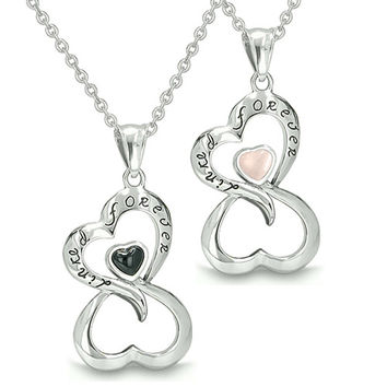 Infinity Hearts Linked Forever Love Couple Yin Yang  Simulated Onyx Light Pink Cats Eye Pendant Necklaces