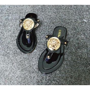 VERSACE Popular Women Leisure Flat Shoes Summer Roman Toe Sandals Slippers Shoe Black