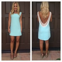 Holly Crochet Back Shift Dress - MINT