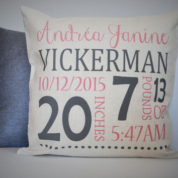 Baby Girl Personalized birth pillow cover