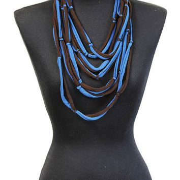 Teal Multi Fabric Strand Bib Necklace And Earring Set