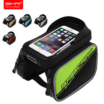 SIKAI Bicycle Frame Tube Panniers Waterproof Cycling Bag Bicycle bags Bike Holder Mobile Phone Bag