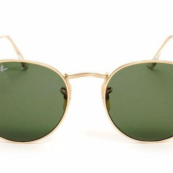 Gotopfashion New Ray-Ban Round Metal Sunglasses Green Lenses Gold Frames RB 3447 Size 50mm