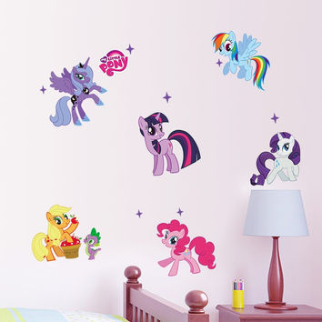 3D PVC Home Decoration My Little Pony 6 Ponies Wall Stickers Hot New Arrival Decal Kids Room Cute Animal Cartoon Gift Diy 1425