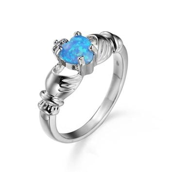 Heart Cut Blue Opal Ring Fashion Wedding Jewelry Filled Engagement Promise Rings