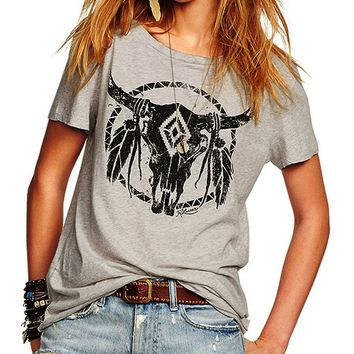 Selma Bull Feather T-Shirt Top