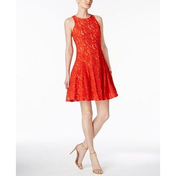 $158 New Ivanka Trump Women's Sleeveless Red Nude Fit Flare Lace Tunic Dress 14