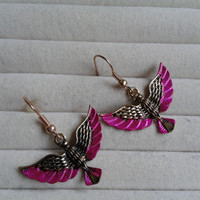 closing sale - pink  and goldtone  Eagle  dangle earrings