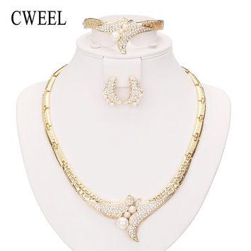 CWEEL Jewelry Sets For Women African Jewelry Set Simulated Pearl Wedding Jewellery Gold Color Luxury Dubai Jewelry Sets