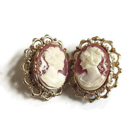 Carved Shell Lady Cameo clip Earrings Vintage Mid-Century