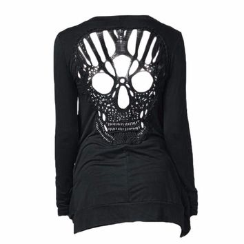 Knitted Skull Hollow Out Cardigan