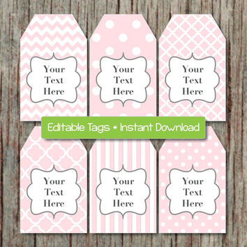 Thank You Tags Printable Gift Tags Editable JPG Powder Pink Grey INSTANT DOWNLOAD Digital File Baby Shower Birthday 009