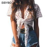 Sibybo Lace Crochet Sexy Summer Tops for Women Deep V-Neck Hollow Out Cardigan Short T Shirt Women White Slim Casual Tops Ladies