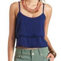 Crochet-Trimmed Layered Crop Top by Charlotte Russe - Blue Depths