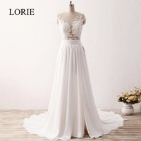 Cheap Simple Beach Wedding Dresses 2017 Vestido De Noiva Chiffon Lace Appliqued Sexy Women Bridal Dress with Cap Short Sleeve
