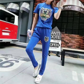 """Kenzo"" Women Casual Fashion Tiger Head Embroidery Sequin Short Sleeve Trousers Set Two-Piece Sportswear"
