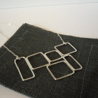 delicate everyday wearable simple asymmetric silver squares pendant necklace