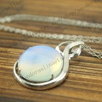 White Opal Necklace - Opalite Bridesmaid Jewelry - the moonstone jewelry -Teardrop Necklace Teardrop Necklace