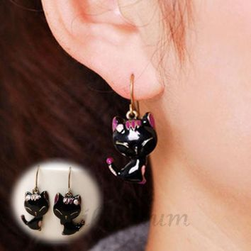 PEAPIX3 Latest New Arrival2015 New Chic Lady Girls Charming Lovely Cat Alloy Rhinestone Ear Stud Earrings