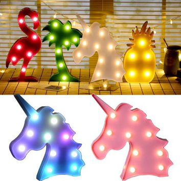 Cute Home Table Decoration LED Lights Night Romantic Lamp Light Unicorn Cactus 3D Lighting Chrismas Decorative Lamp