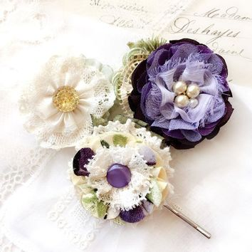 Violet Hair Pin Flowers