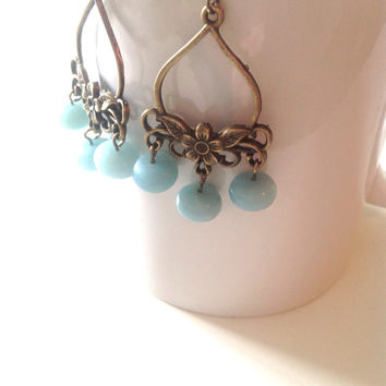 Bohemian Dangle Earrings - Amazonite Vintage Inspired Boho Earrings