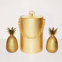 Vintage Gold Ice Bucket with Gold Chain Hollywood Regency Barware Hollywood Glam Ice Bucket Wine Chiller