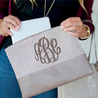 Monogram Herringbone Zip Pouch Clutch Purse Font Shown MASTER CIRCLE in Pewter
