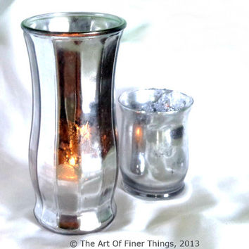 "9.5"" Faceted Mirrored Glass Vase - Mercury Glass Hurricane Candle Holder Vase Candleholder- Venetian Mirror- Antique Mercury Glass"