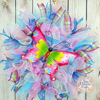 Spring Butterfly Deco Mesh Wreath - Pink and Blue Deco Mesh Wreath - Butterfly Deco Mesh Wreath - Summer Deco Mesh Wreath - Butterfly Wreath