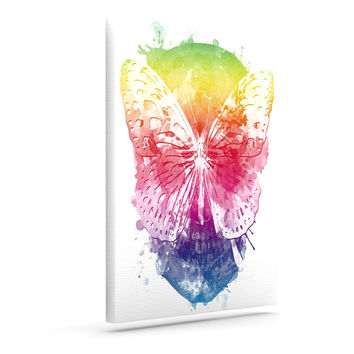"Frederic Levy-Hadida ""Butterfly Skull"" Rainbow Canvas Art"