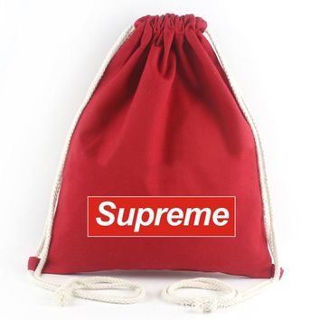 Supreme Woman Men Hip hop Canvas Drawstring Backpack Daypack