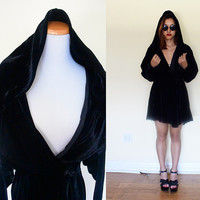 Vintage 50's 60's velvet wrap dress light coat black goth gothic lolita hood witch gypsy large L