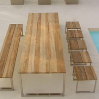 Mamagreen Icon Outdoor Teak Dining Table, teak dining table sets - HomeInfatuation.com