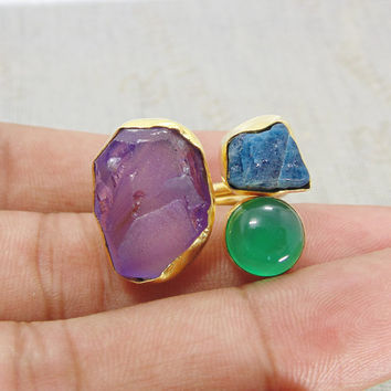 Green Onyx Ring - Handmade Ring - Raw Amethyst Ring - Gold Vermeil Ring - Statement Ring - Apatite Ring - Rough Stone Ring - Bezel Set Ring