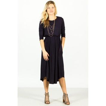 Pocket Midi Dress - Navy