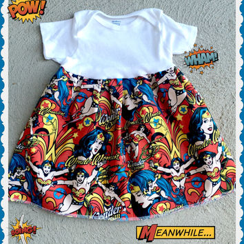 Girls baby Marvel Comics Super Hero wonder Woman dress 0-3 3-6 6-9 12-18 18-24 2t 3t 4t 5t 6/6X 7/8 10/12