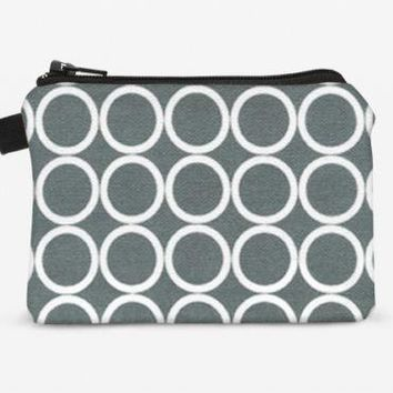Women's Zipper Wallet Gray Change Purse Small Coin Bag - Gray and White Circles