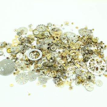 Drop Shipping 50g/lot Cogs Gears Only Steampunk Watch Parts Art Project Crafts Jewelry Making Items