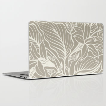 Floral Alabaster Blue Gray Laptop & iPad Skin by Beautiful Homes