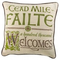 Cead Mile Failte Irish Celtic Welcome Embroidered Decorative Throw Pillow