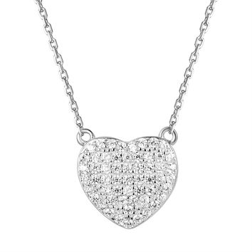 "Solitaire Iced Out Heart Sterling Silver Pendant 18"" Chain"