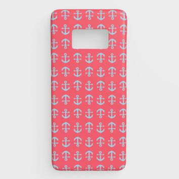 Anchor Toss Cell Phone Case Galaxy S8 - Light Blue on Coral