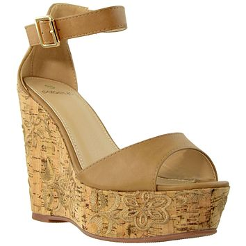 Womens Platform Sandals Ankle Strap Embroidered  Cork Heel Wedges Tan