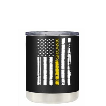 Dispatchers Distressed Horizontal Gold Line Flag on Black 10 oz Tumbler