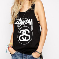 Black Letter Print Sleeveless Loose Tank Top